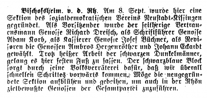 """Dieser Pressebericht im Fränkischen Volksfreund ist die """"Geburtsurkunde"""" für die SPD-Sektion Bischofsheim"""