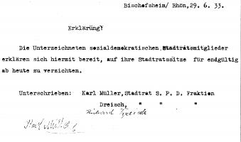 """Von den Nazis erzwungener """"freiwilliger"""" Rücktritt"""